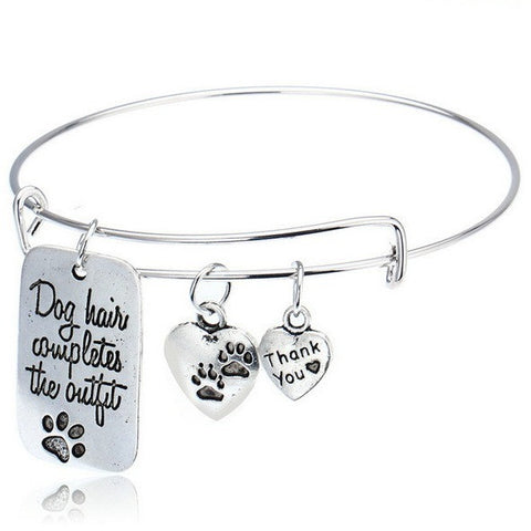 Dog Hair Completes The Outfit Dog Paw Print Bangle Bracelet - Just Love Dogs