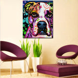 American Bulldog Multi Color Canvas Picture
