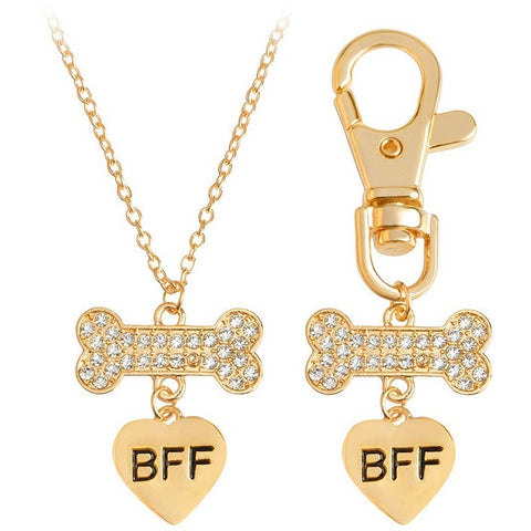 Best Friends Forever Crystal Heart Dog Bone Charm Necklace & Keychain Set - Just Love Dogs