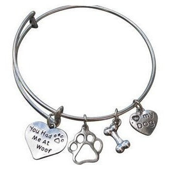 You Had Me At Woof Dog Paw Print Bangle Bracelet - Just Love Dogs
