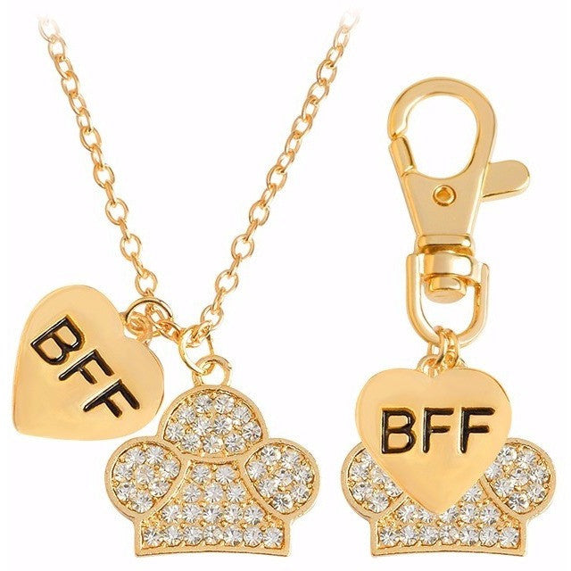 Best Friends Forever Crystal Heart Dog Paw Charm Necklace & Keychain Set - Just Love Dogs