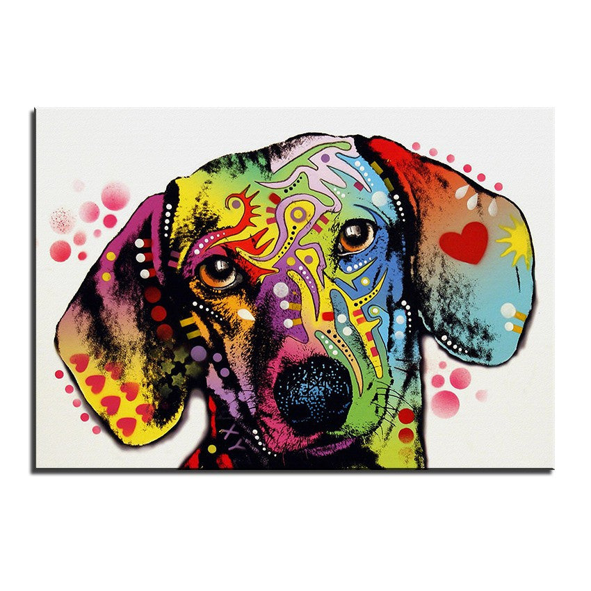 Dachshund Multi Color Canvas Picture