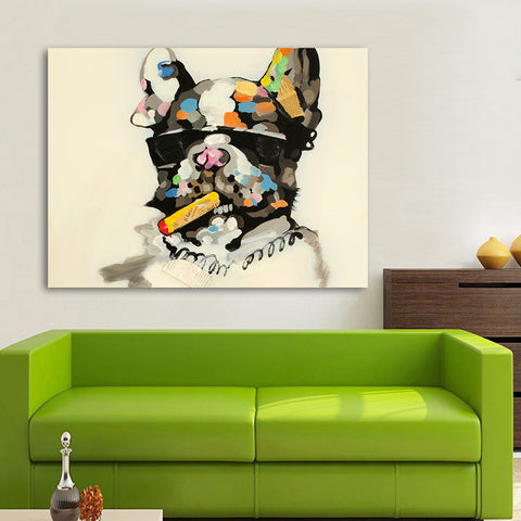 The Smoking Pitbull Multi Color Canvas Picture