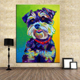 Miniature Schnauzer Multi Color Canvas Picture
