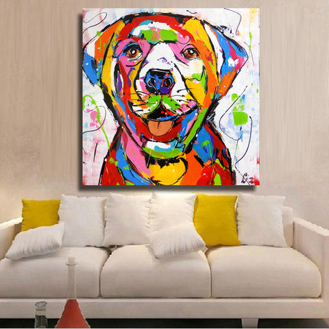 Golden Retriever Multi Color White Background Canvas Picture