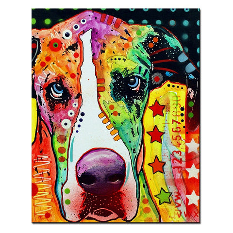 Great Dane Multi Color Canvas Picture