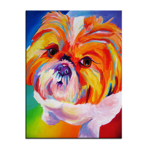 Shih Tzu Multi Color Canvas Picture