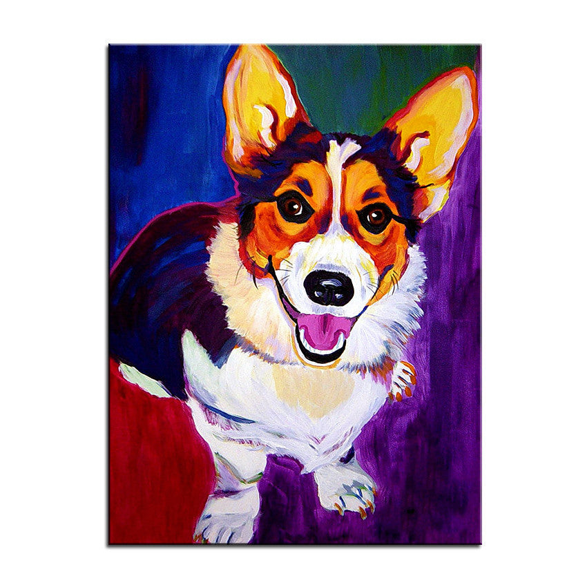 Corgi Multi Color Canvas Picture