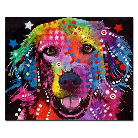 Golden Retriever Multi Color Canvas Picture