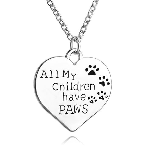 All My Children Have Paws Dog Lovers Heart Pendant Necklace - Just Love Dogs