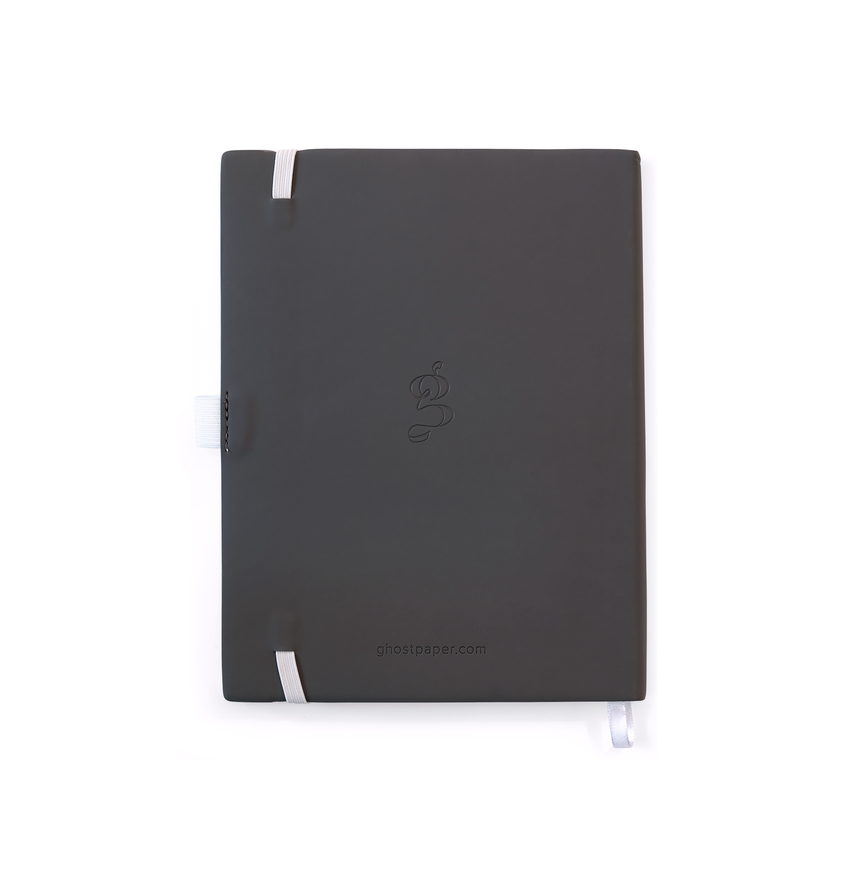 Image of the back of the ghost notebook.  Gray on white