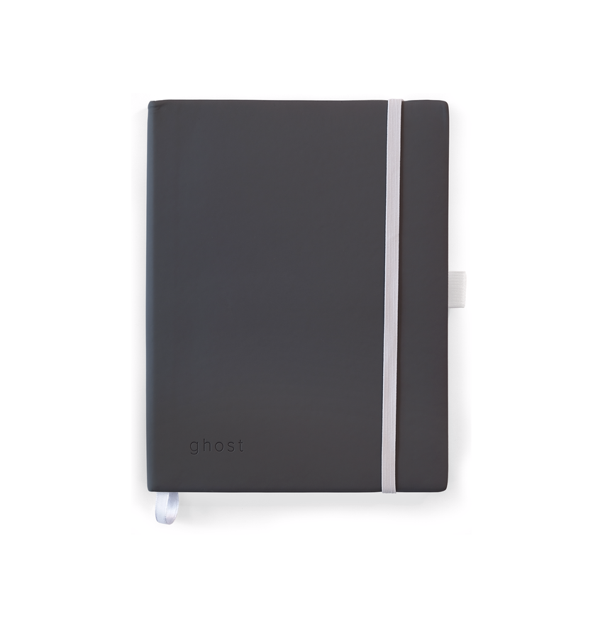Photo of a Gray Notebook with a white Elastic band on a white background