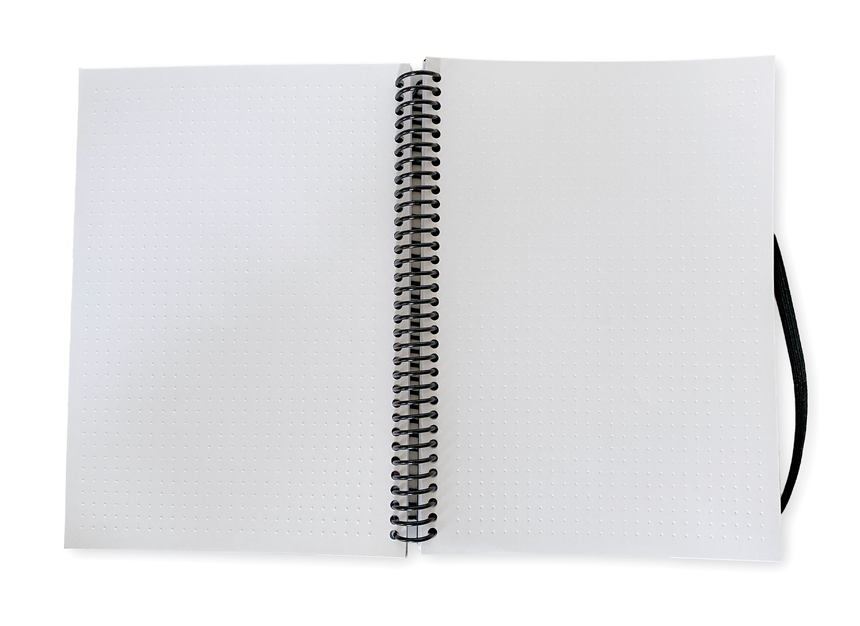 Ghost Paper Dot Grid Spiral Notebook Open, Two Pages with embossed and Debossed dots in a grid pattern