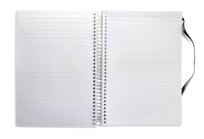 Open spiral notebook with left page showing embossed lines while right page is showing debossed lines