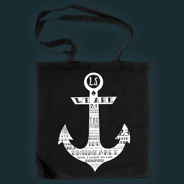 BLACK ANCHOR TOTE BAG