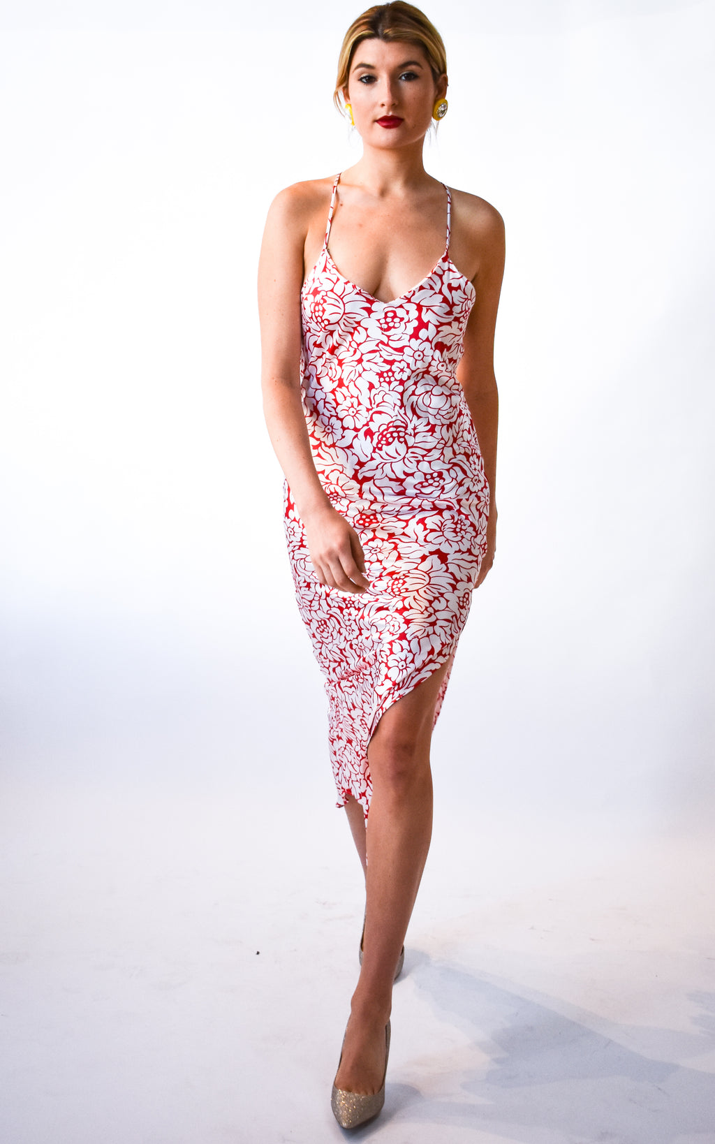 Red Camelia Slip Dress