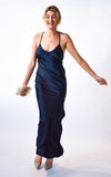 Navy Silk Slip Dress