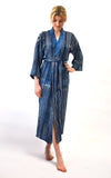 Kimono robe handmade of block printed indigo fabric in Venice, California