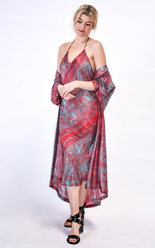 Sexy and slinky eco silk slipdress/ dress/ slip dress handmade in our Venice, CA studio. Made out a hand designed print made locally inspired by antique fabric. Great for date nights, weddings, bridal parties, beach days, summer nights.