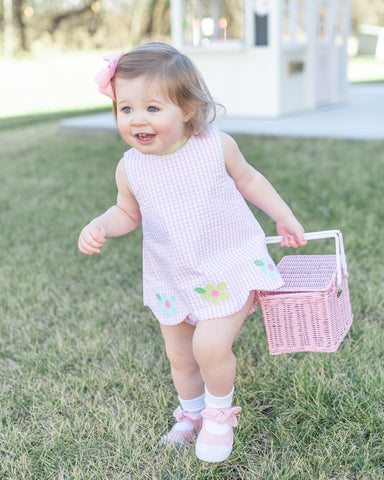 The Broke Brooke Little English pink gingham bloomer set