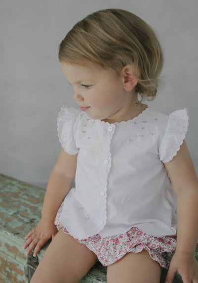 Tea Blouse-Pink, Little English, classic children's clothing, preppy children's clothing, traditional children's clothing, classic baby clothing, traditional baby clothing