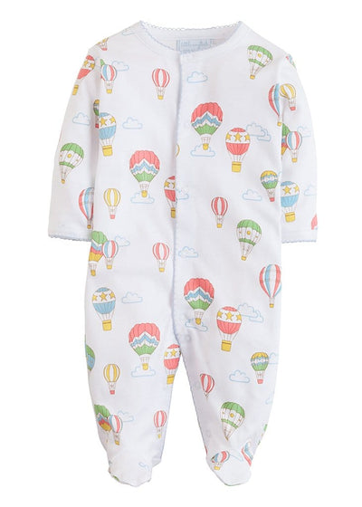 Printed Footie - Hot Air Balloon, Little English, classic children's clothing, preppy children's clothing, traditional children's clothing, classic baby clothing, traditional baby clothing