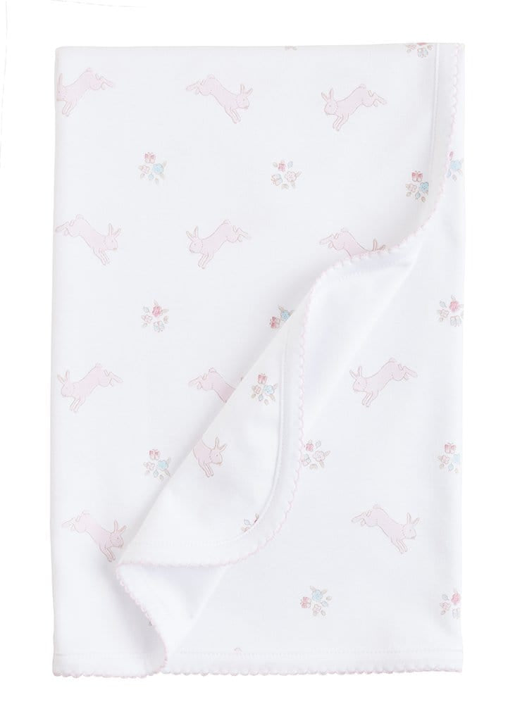 Pink Printed Bunnies Blanket, Little English, classic children's clothing, preppy children's clothing, traditional children's clothing, classic baby clothing, traditional baby clothing