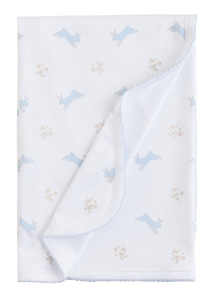 Blue Printed Bunnies Blanket, Little English, classic children's clothing, preppy children's clothing, traditional children's clothing, classic baby clothing, traditional baby clothing