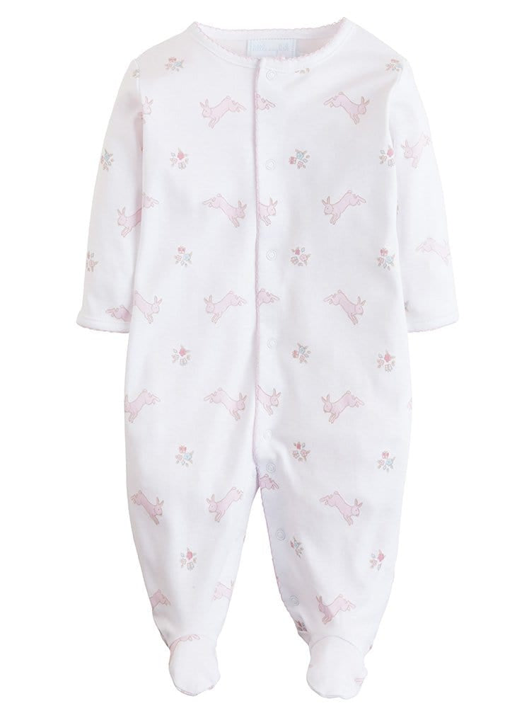 Pink Printed Bunnies Footie, Little English, classic children's clothing, preppy children's clothing, traditional children's clothing, classic baby clothing, traditional baby clothing