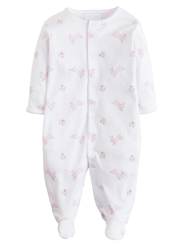 Printed Footie - Pink Bunny, Little English, classic children's clothing, preppy children's clothing, traditional children's clothing, classic baby clothing, traditional baby clothing