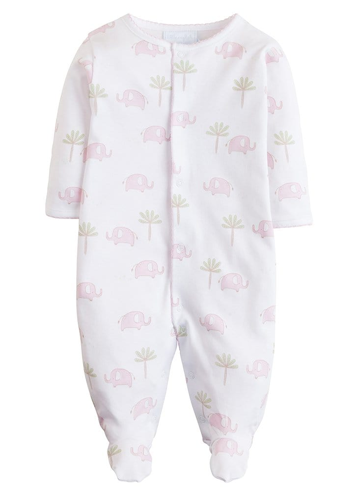 Pink Printed Elephant Footie, Little English, classic children's clothing, preppy children's clothing, traditional children's clothing, classic baby clothing, traditional baby clothing