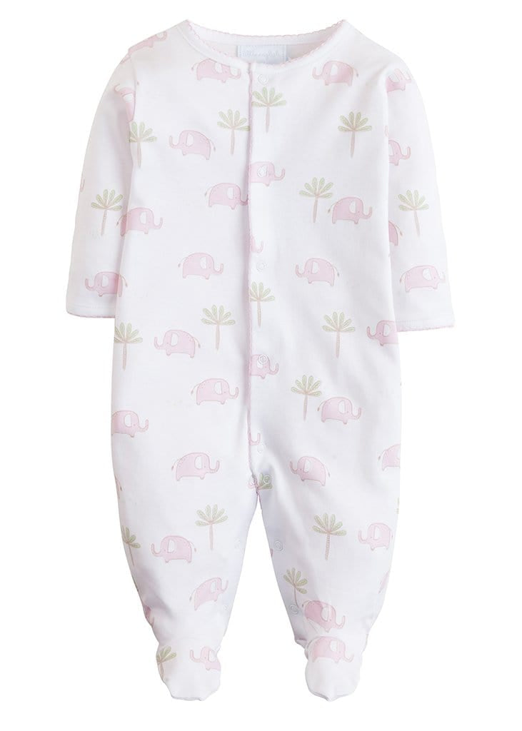 Printed Footie - Pink Elephant, Little English, classic children's clothing, preppy children's clothing, traditional children's clothing, classic baby clothing, traditional baby clothing