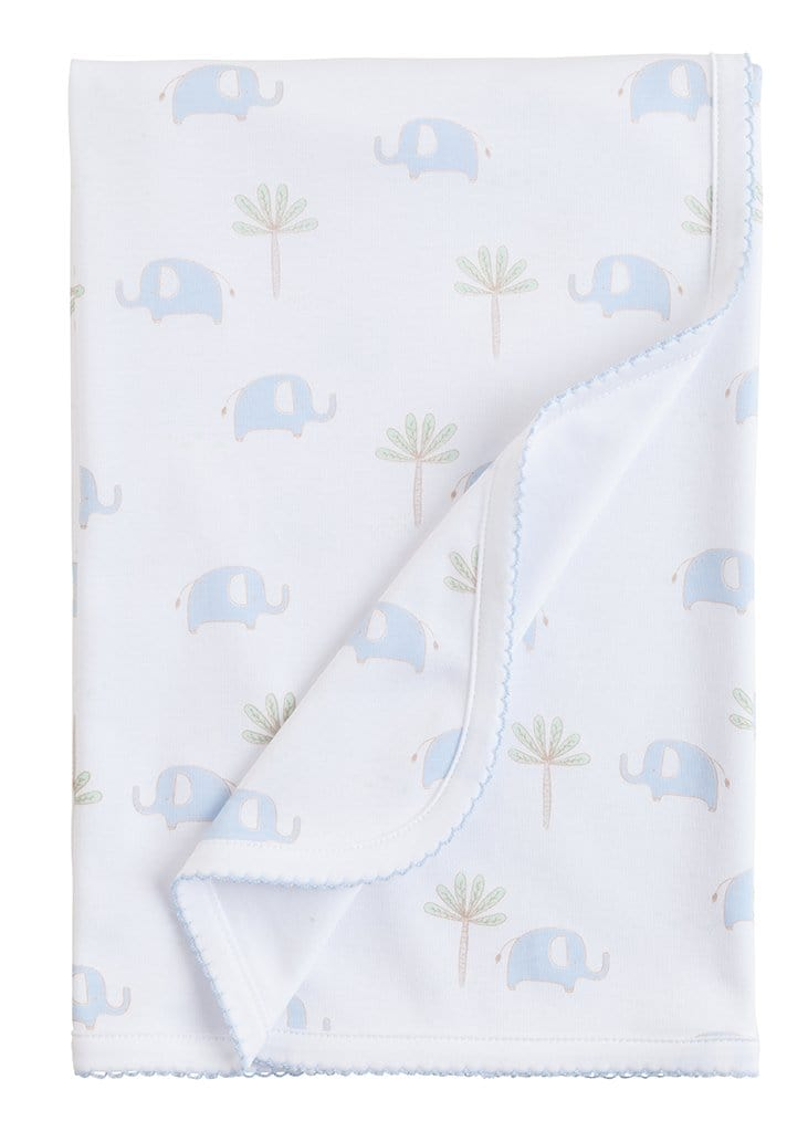 Blue Printed Elephant Blanket, Little English, classic children's clothing, preppy children's clothing, traditional children's clothing, classic baby clothing, traditional baby clothing