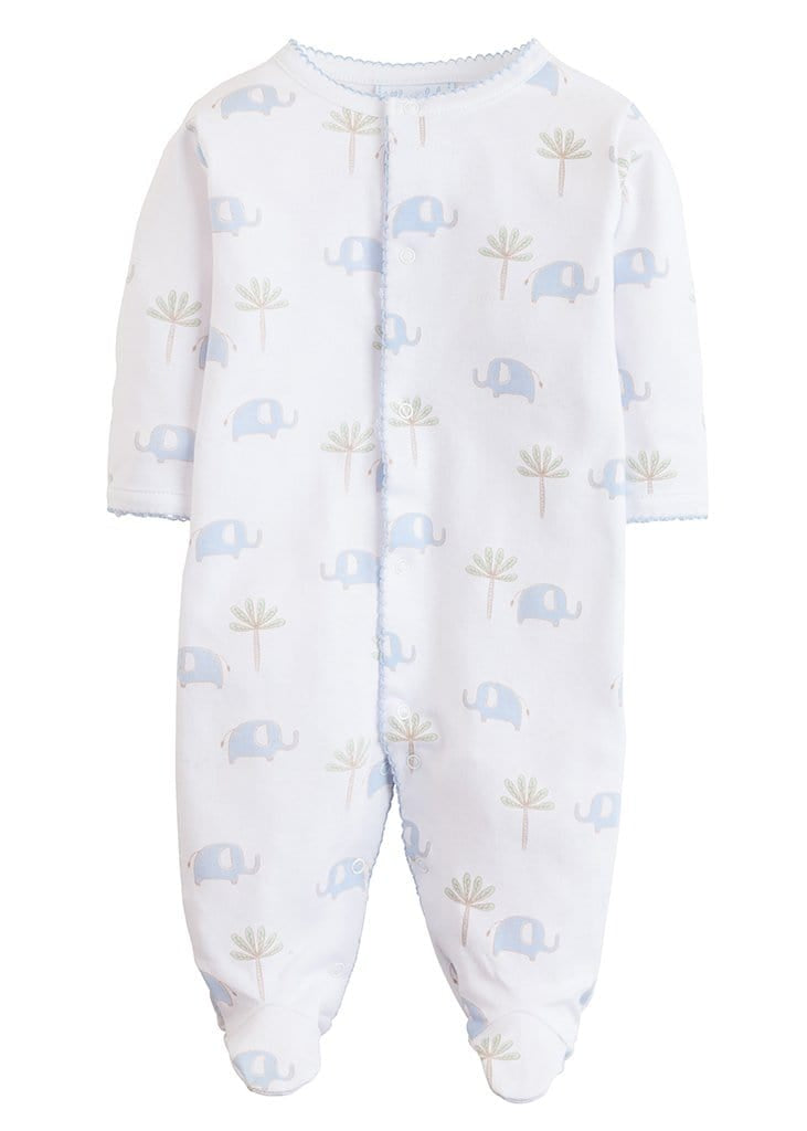 Blue Printed Elephant Footie, Little English, classic children's clothing, preppy children's clothing, traditional children's clothing, classic baby clothing, traditional baby clothing