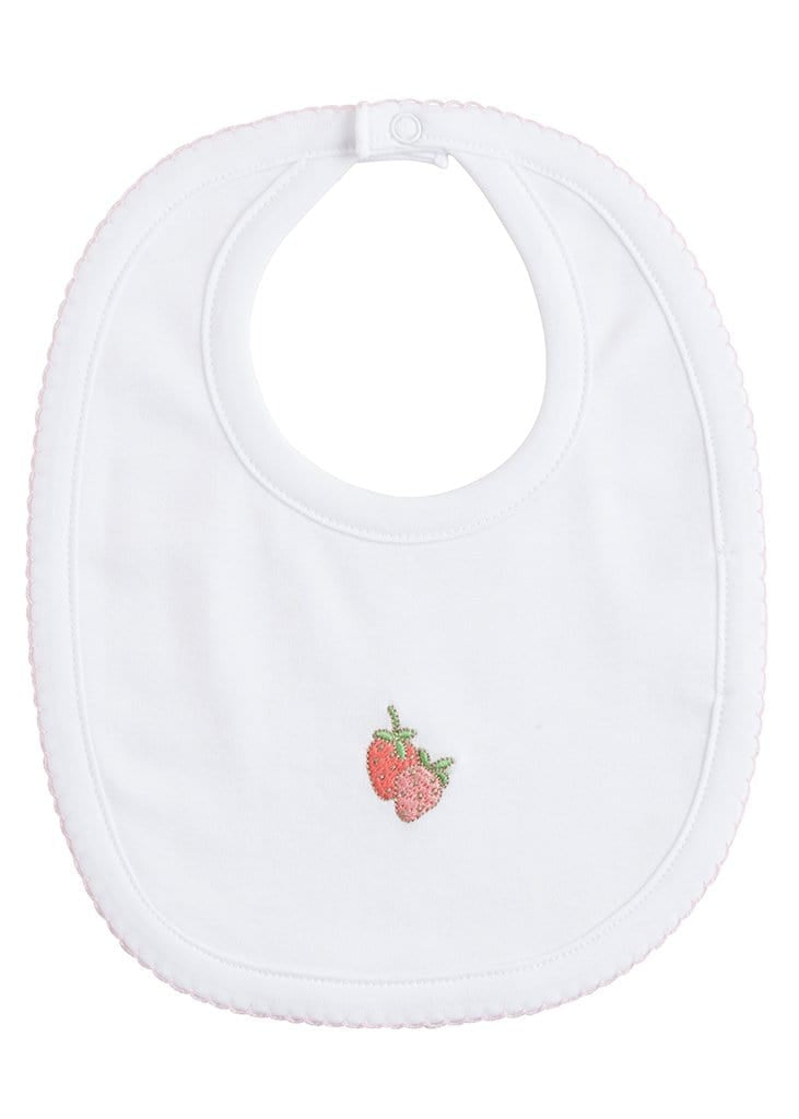 Embroidered Strawberry Bib, Little English, classic children's clothing, preppy children's clothing, traditional children's clothing, classic baby clothing, traditional baby clothing