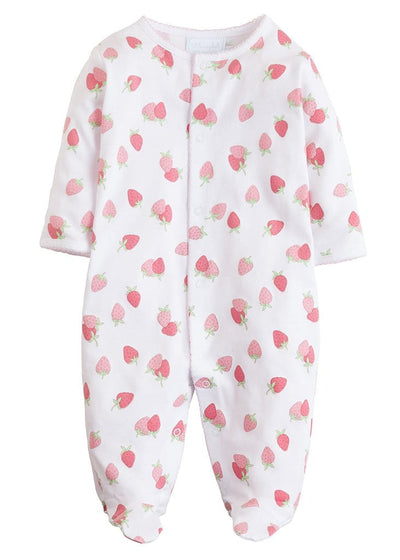Printed Strawberry Footie, Little English, classic children's clothing, preppy children's clothing, traditional children's clothing, classic baby clothing, traditional baby clothing
