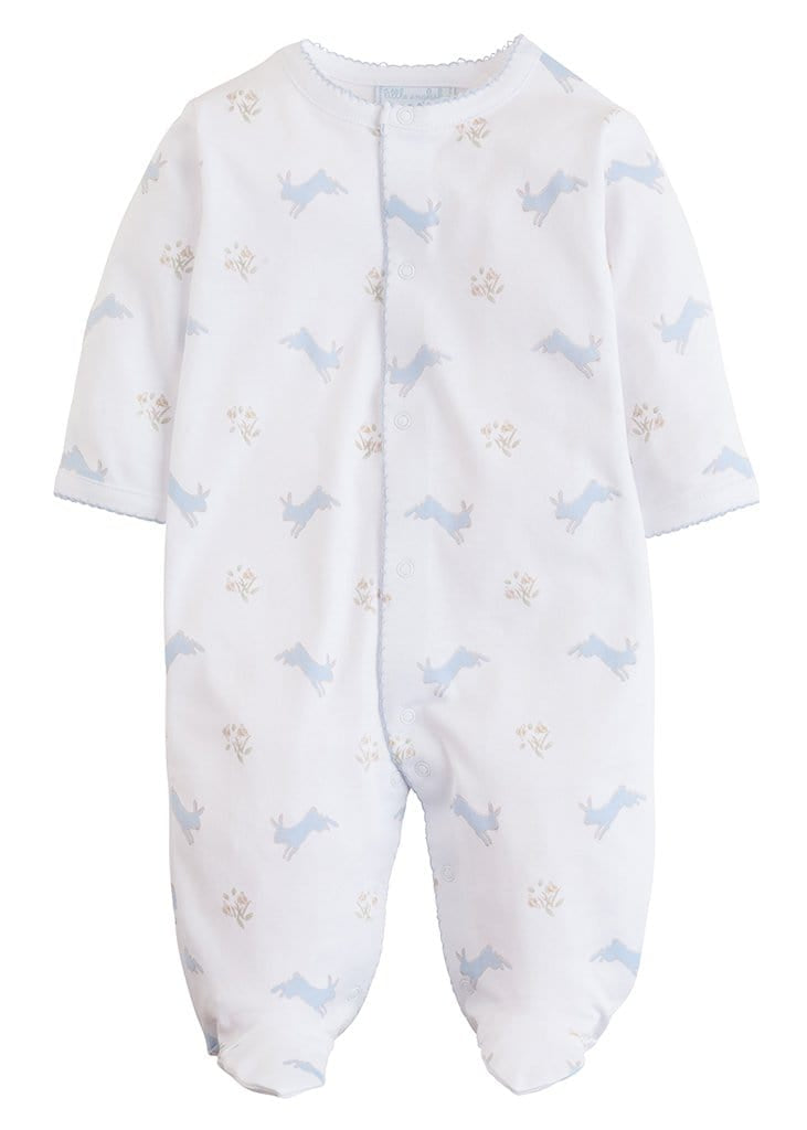 Blue Printed Bunnies Footie, Little English, classic children's clothing, preppy children's clothing, traditional children's clothing, classic baby clothing, traditional baby clothing