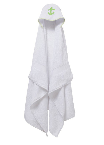 kids hooded towel with anchor appliqué