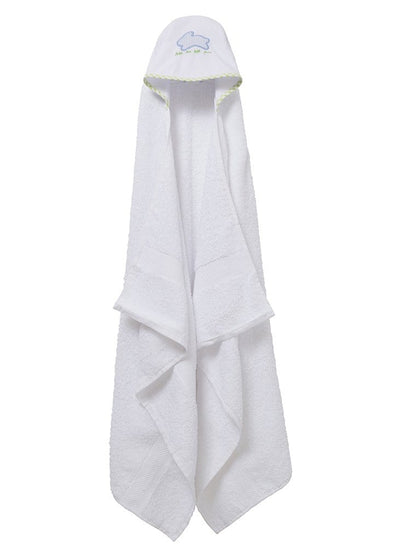 kids hooded towel with blue bunny appliqué