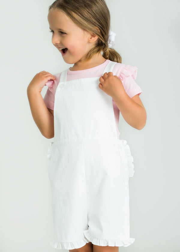 little english classic girls white overalls