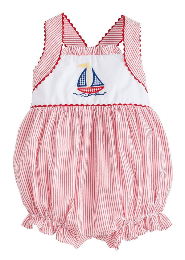 Little English baby girl seersucker sailboat bubble