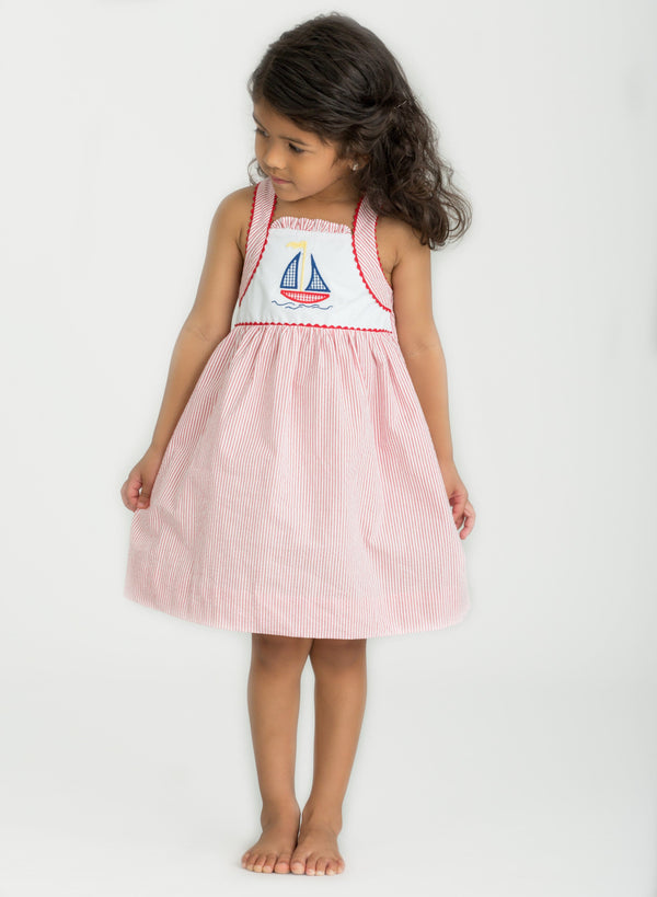 Sailboat Seersucker Dress, Little English Girl's Clothing