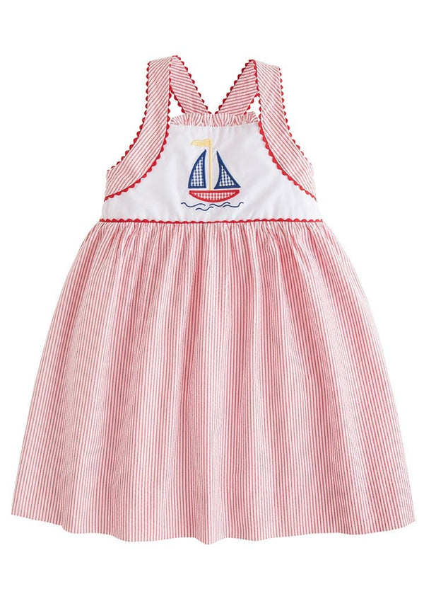 Little English girls red seersucker sailboat dress