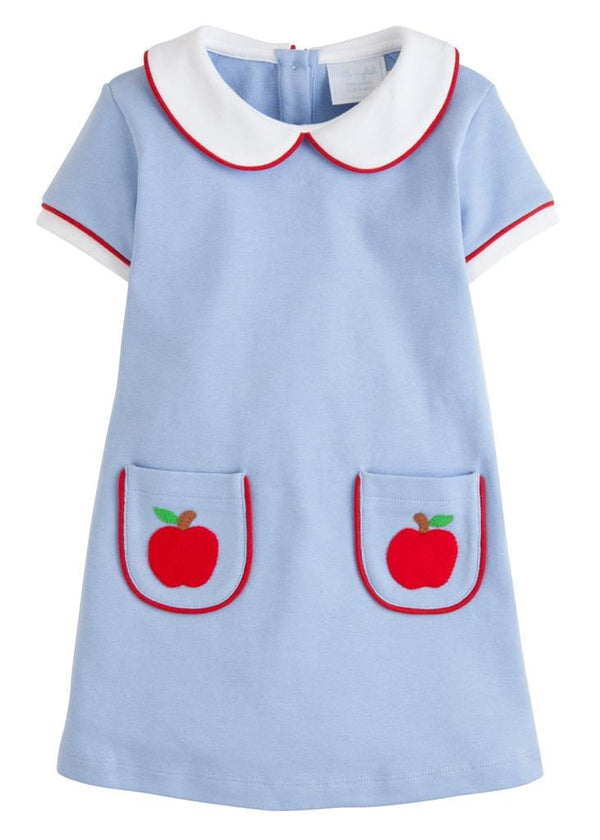 Little English classic knit girls back to school apples dress