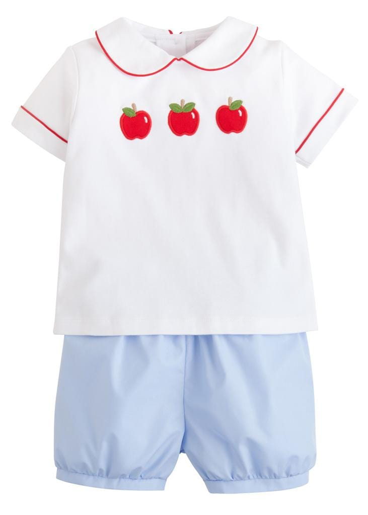Little English classic boys apple applique short set back to school