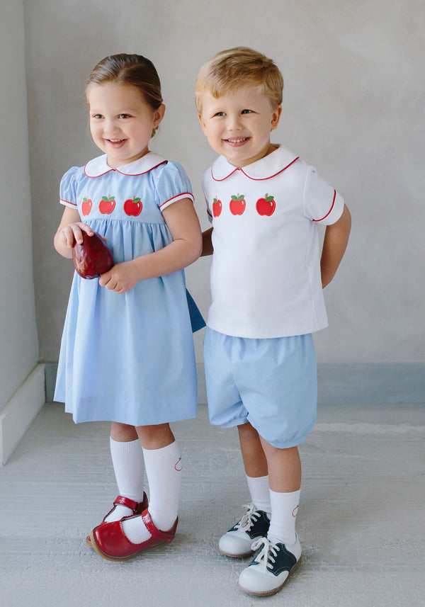 Little English classic children's clothing, Boy's Apple Back to School Peter Pan Short Set, traditional children's clothing