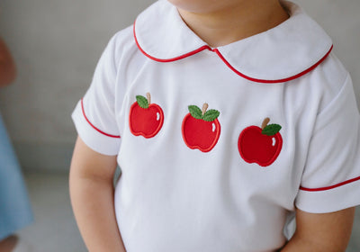 Little English classic children's clothing, Boy's Apple Applique Back to School peter Pan Short Set, traditional children's clothing