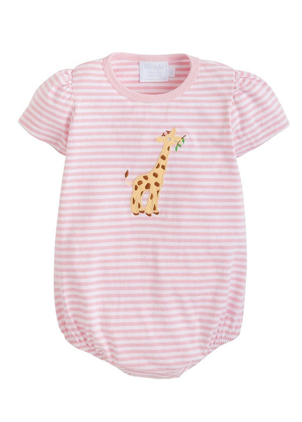 little english classic baby girl knit applique bubble with giraffe