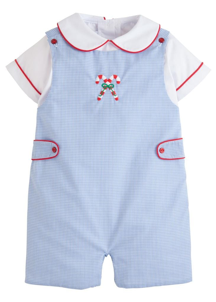Little English classic boy's light blue gingham candy cane john john set, traditional children's clothing