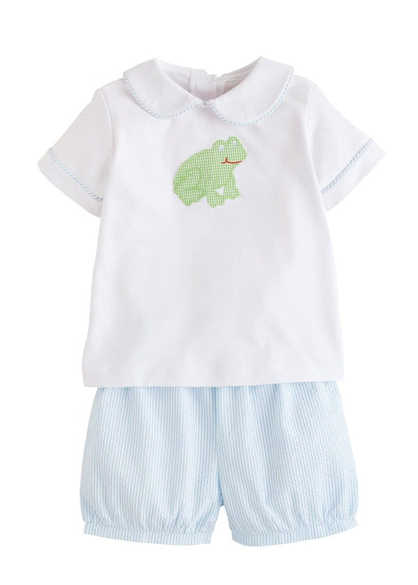 little english little boys classic peter pan short set with frog applique
